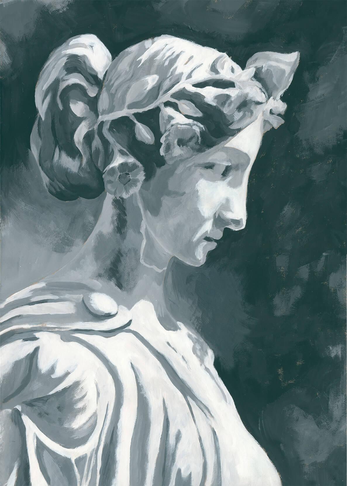Skulptur, Büste, Griechische Skulptur, fleckhaft, Tempera