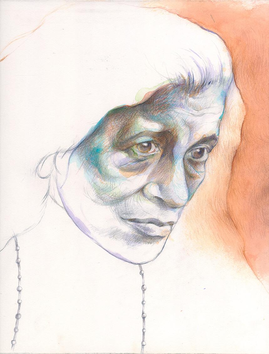 Portraitstudie, Susan Sontag, Farbstift