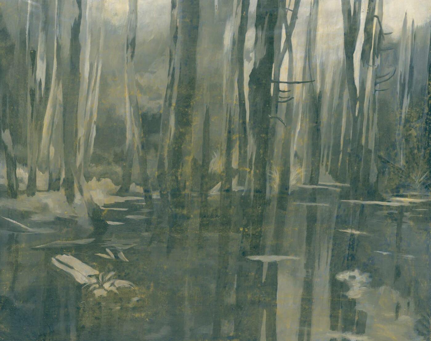 Bäume im Wasser, Spiegelung, Untermalung