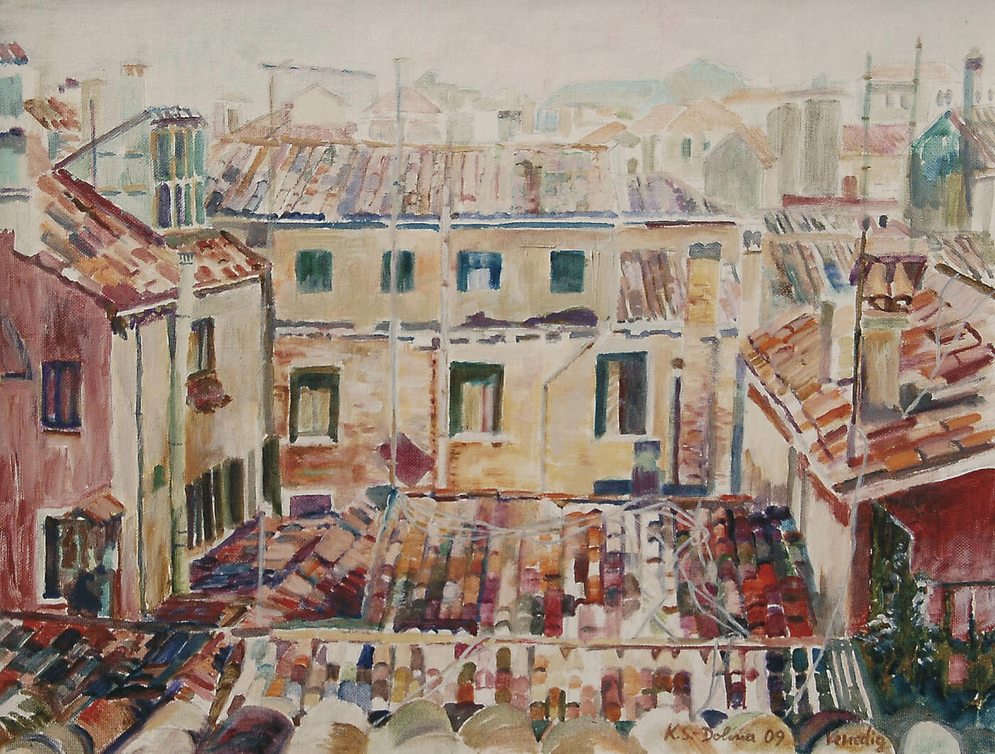 Venedig, Über den Dächern von Venedig, Italien, Malreise