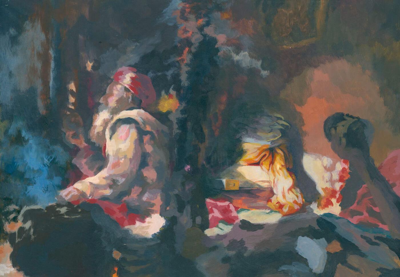 Sadu, Fleckhaft, Malerei, Tempera,