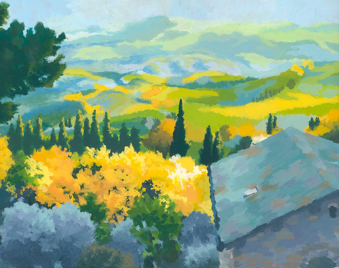 Toskana, Farb-Luft-Perspektive, fleckhaft, Bonnard, Vuillard, Malerei