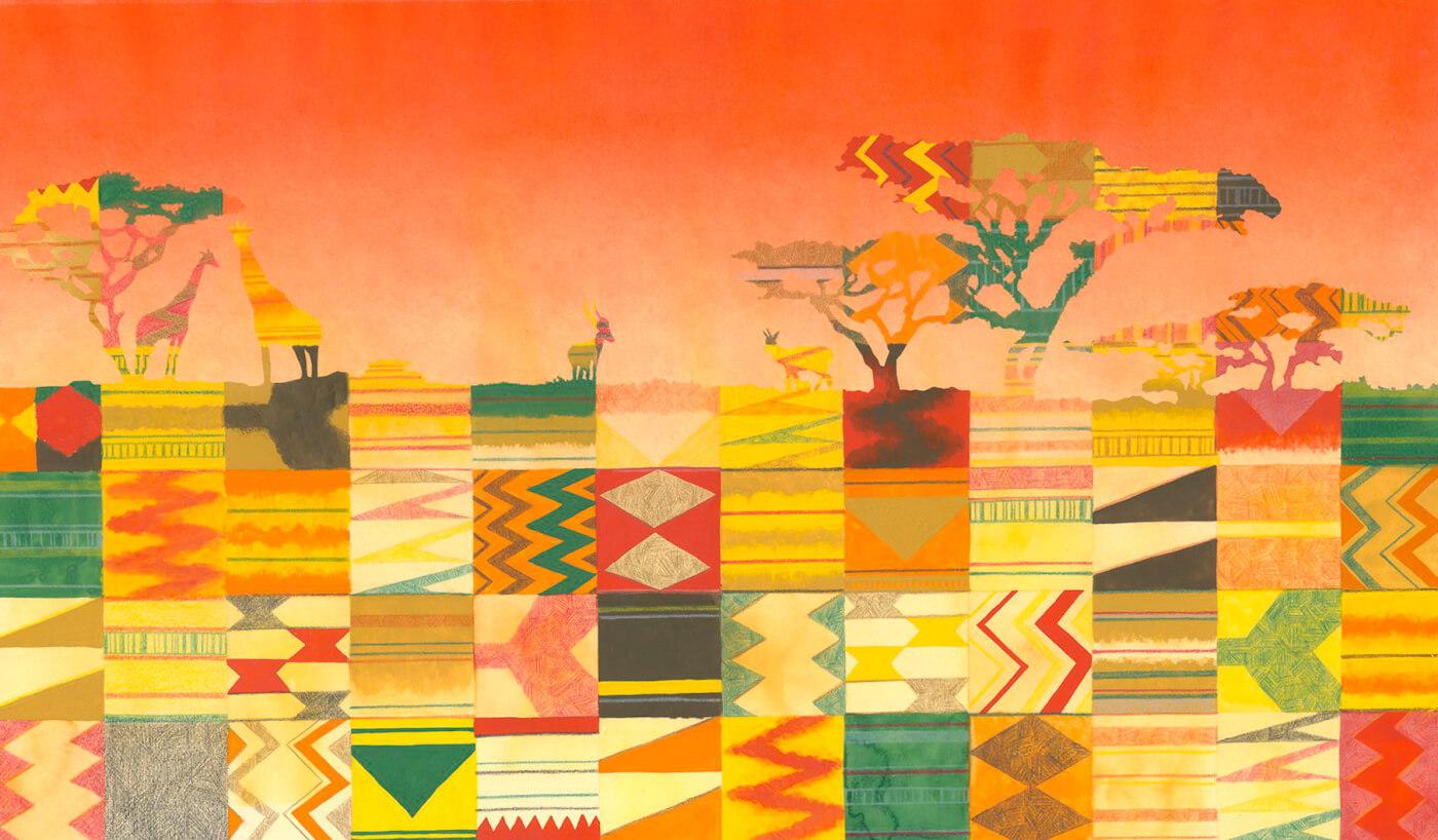 Natur und Mensch, Aquarell, Afrika, Sanggo der Waisenjunge, Muster