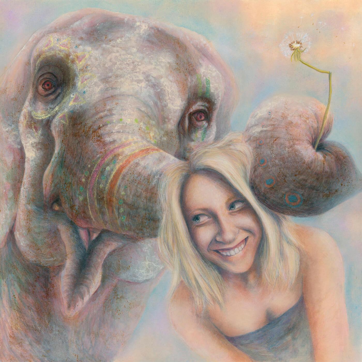 Elephant, Portrait, Ölmalerei, Malkurs