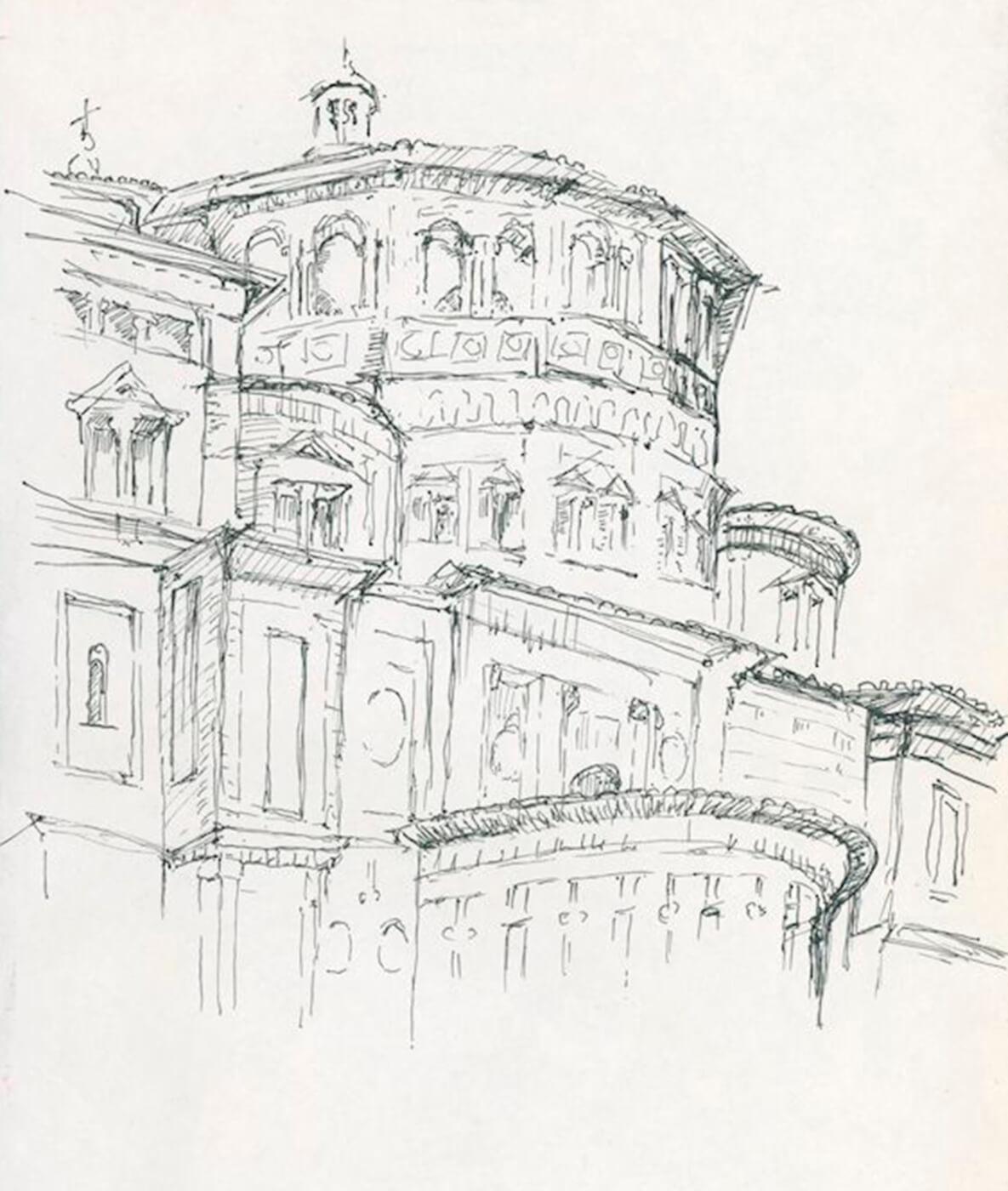 Santa Maria delle Grazie, Zeichnung, Fineliner, Mailand