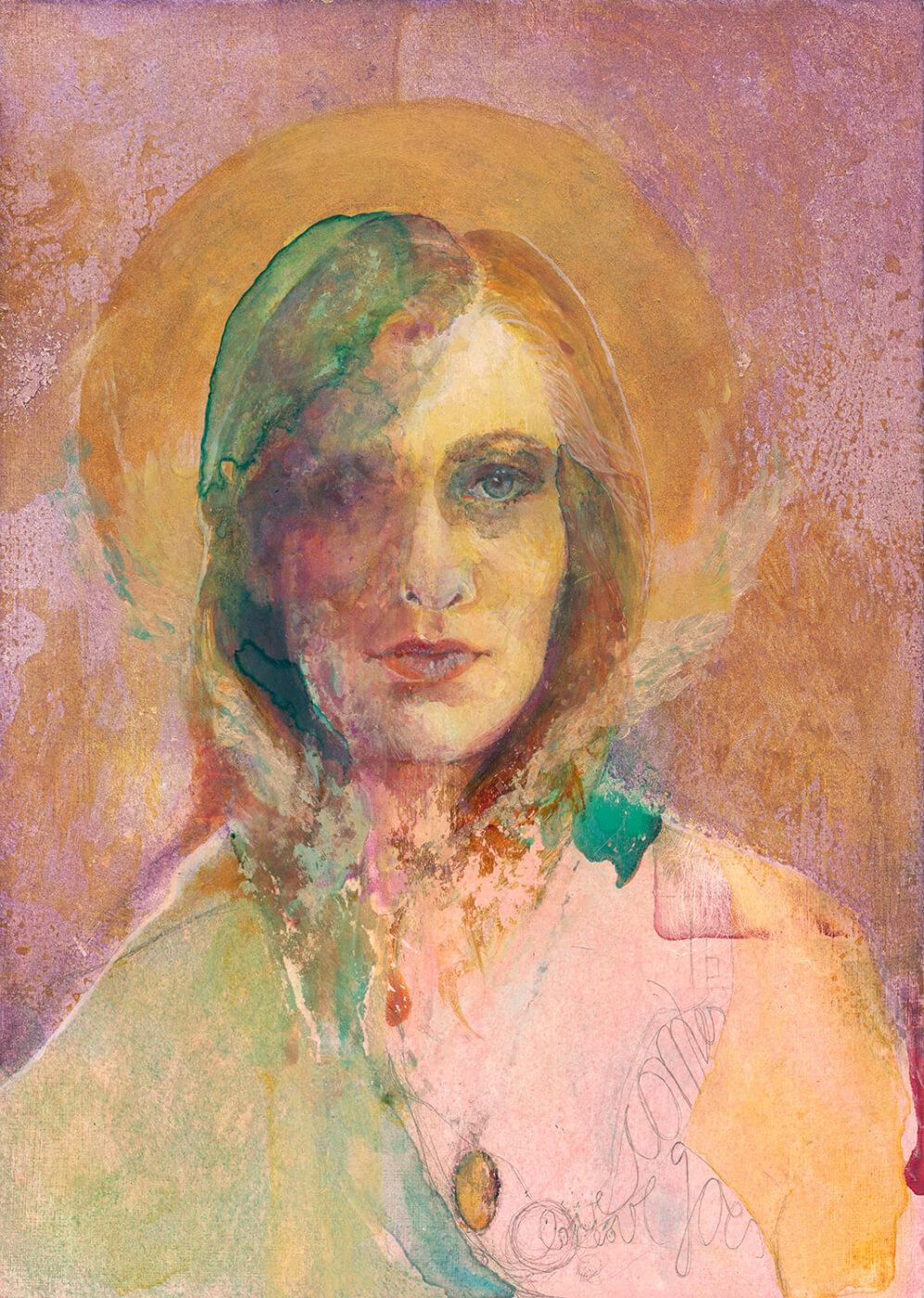 Heiligenschein, Ikone, Portrait, Selbstportrait, mixed media,