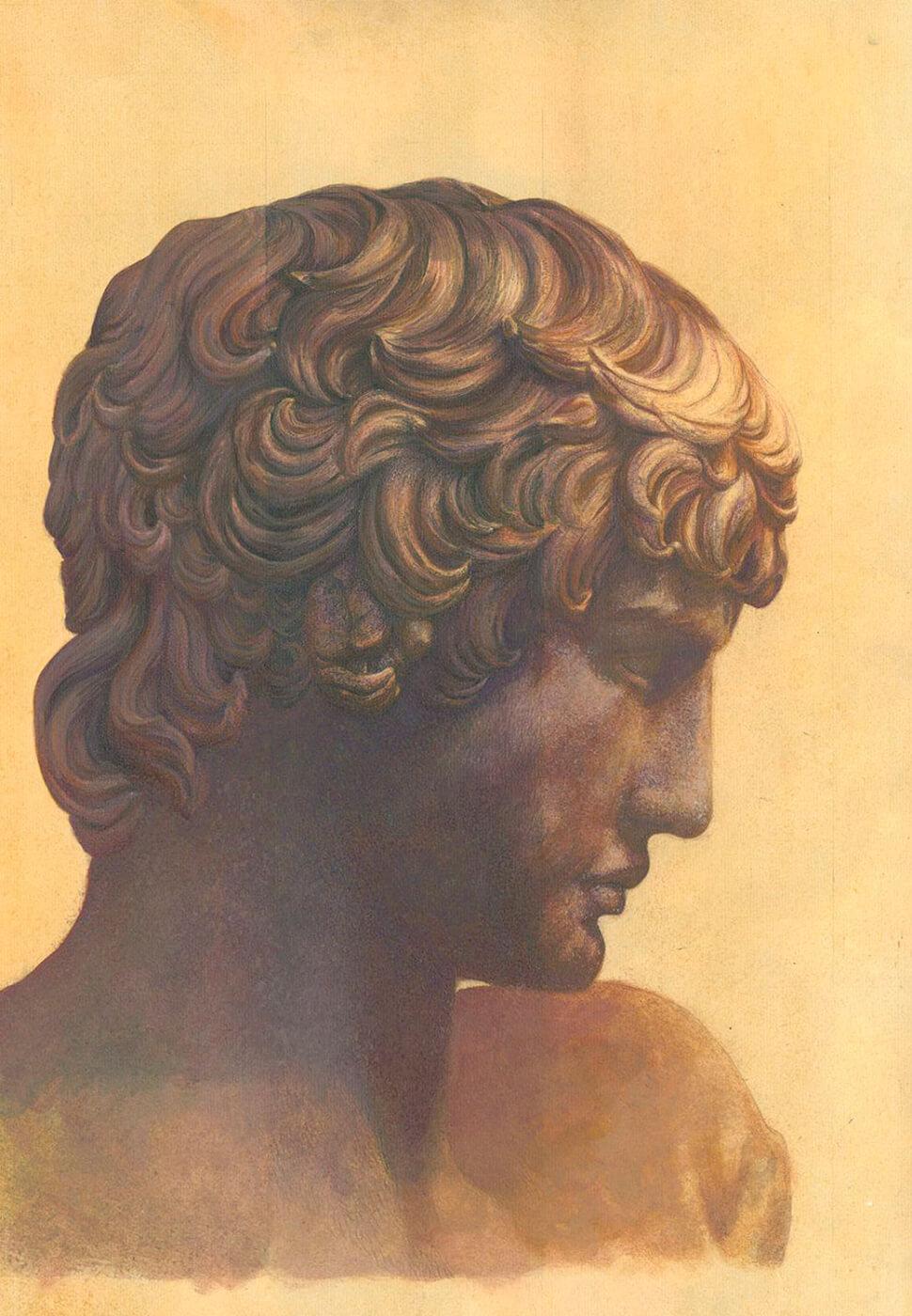 Untermalung, Portrait, griechische Büste
