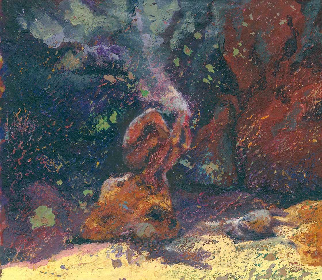 Abstraktion, Eitempera, Pastell, Farbexplosion