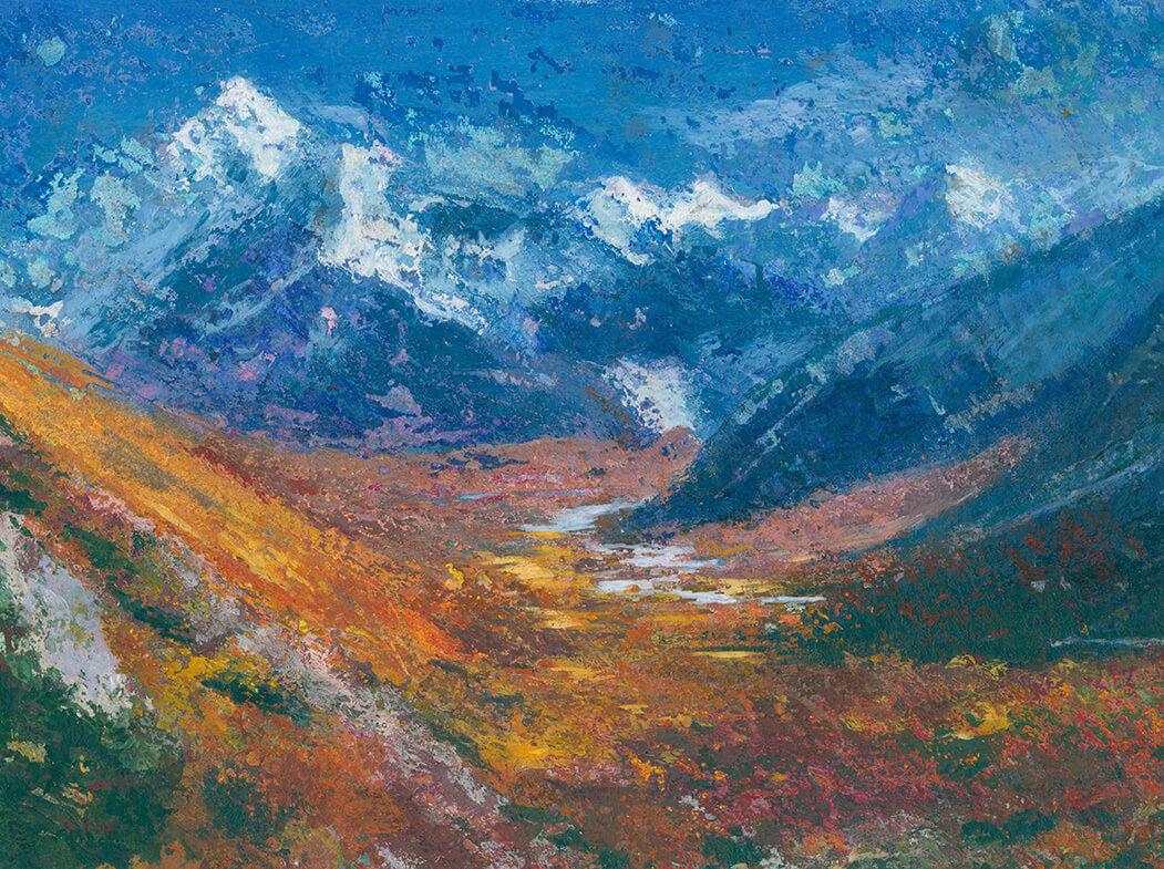 landscape, mountain, himalaya, wolken, experiementelles arbeiten