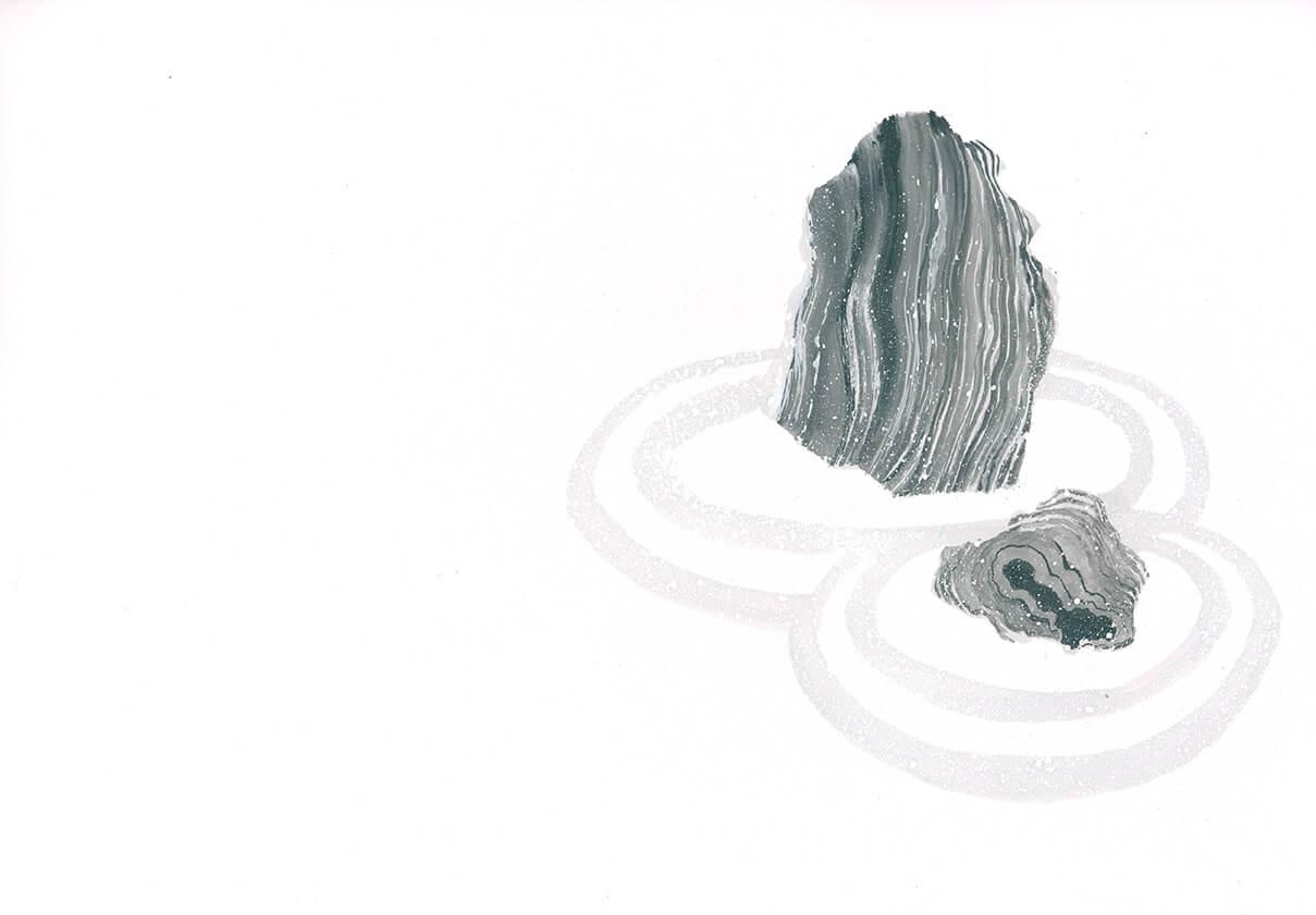 Zen Garten, Tusche, Stein