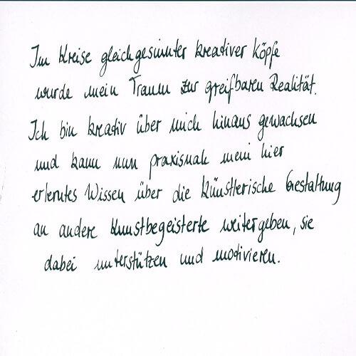 Melli Ottens Motto Handgeschrieben