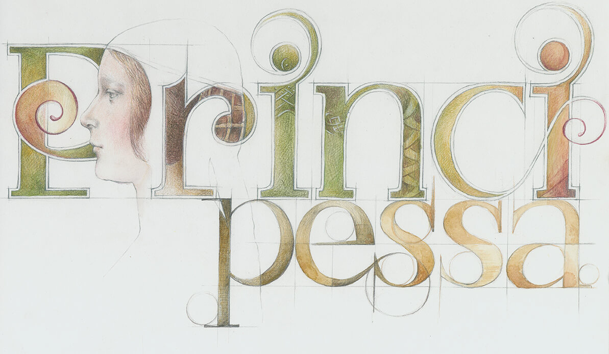 Leonardo, Renaissance, Typografie, Principessa, Portrait, Buchillustration