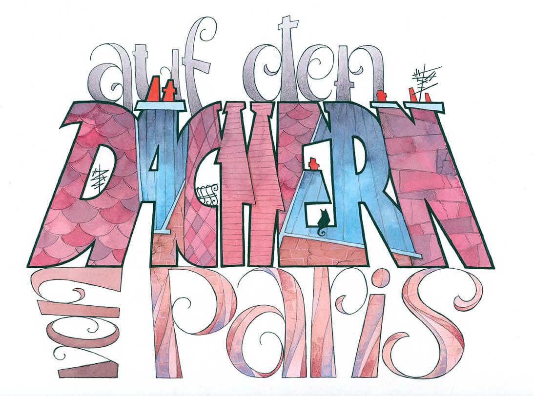 Typografie, auf den Dächern von Paris, Nachts an der Seine, Jojo Moyes