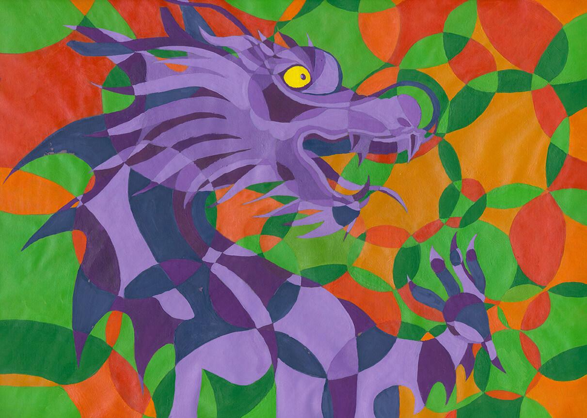 Drachen dragon Eitempera eggtempera kreise farbkontraste