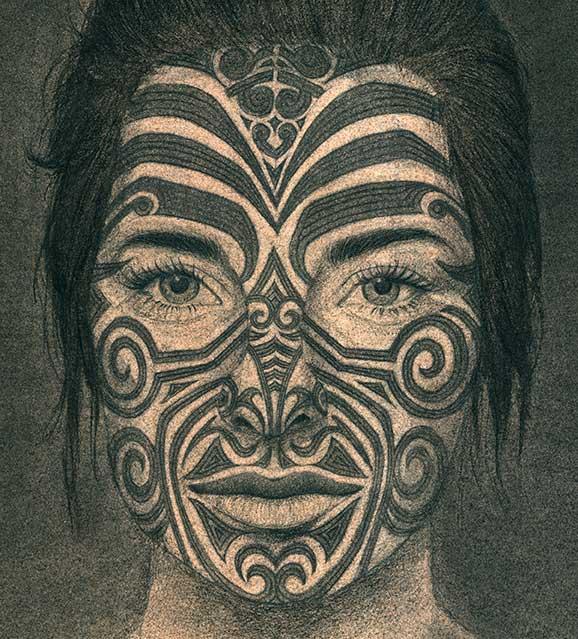 Maori ,Tattoo, Kohlezeichnung, Gesichtstatoo,