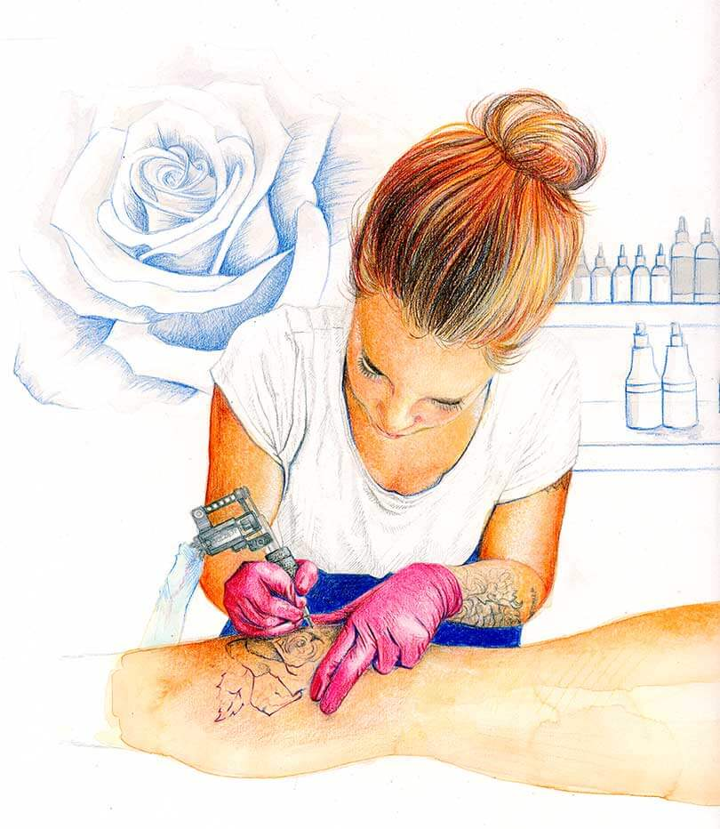 Pinselzeichnung, Aquarell, Gouache, Tattoowieren, Rose, Illustration