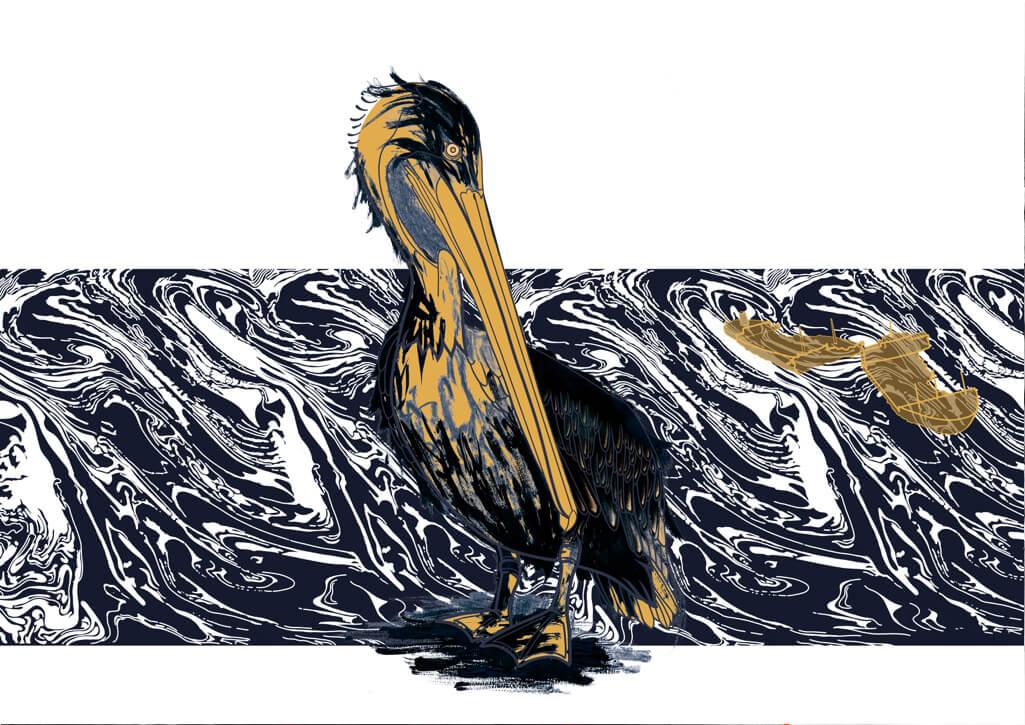 Ölpest, Öltanker, Ölverschmutzung, Tierschutz, Pelikan, digital, artwork