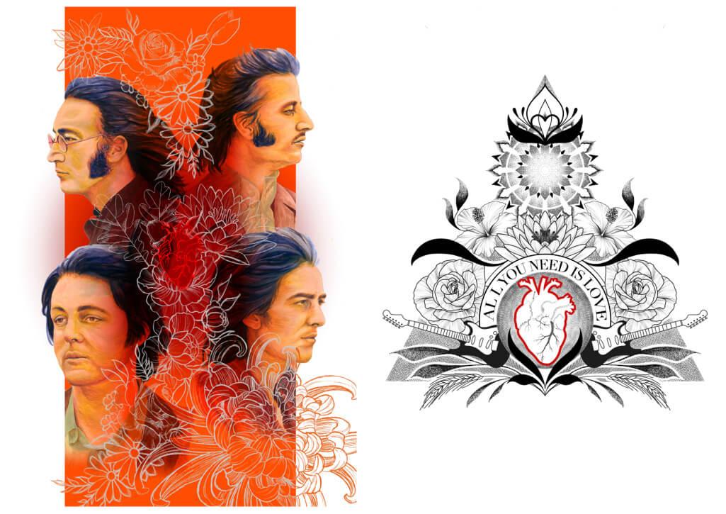 allyouneedislove tattoo portrait Beatles flower power