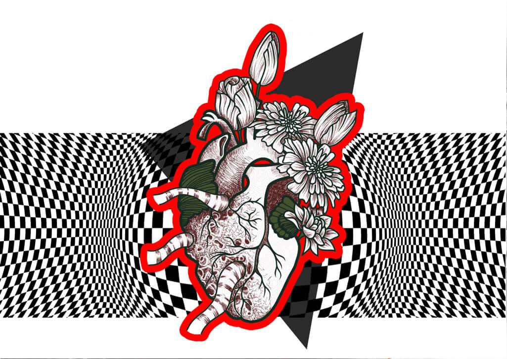 digital, Herztransplantation, Herz, Collage, Blackandwhite, Herzschlag